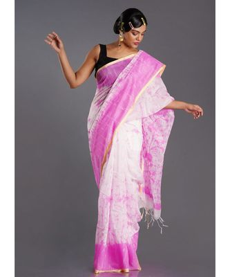 off white blended cotton saree with pink batick print
