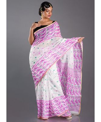 off white blended cotton saree with orange print