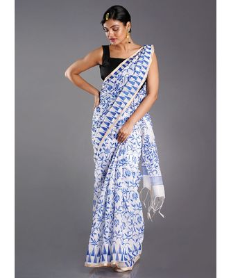 off white blended cotton saree with printed blue motifs