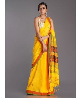 yellow cotton handloom saree with red and green patterns
