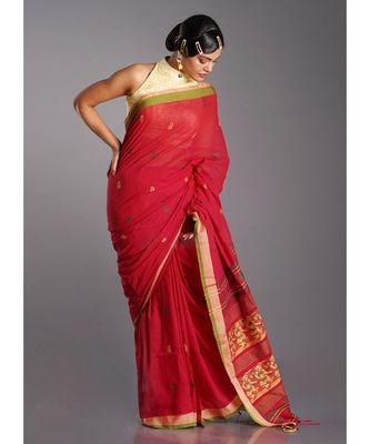 red cotton handloom saree with yellow and green patterns
