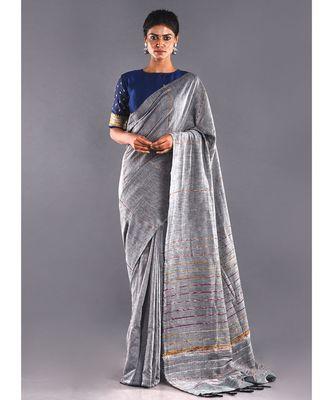 grey & multi striped cotton khesh saree