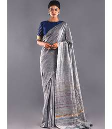 grey & multi striped cotton khesh saree