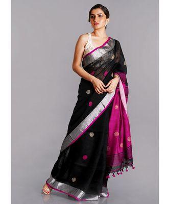 black linen saree with polka dots and pink pallu