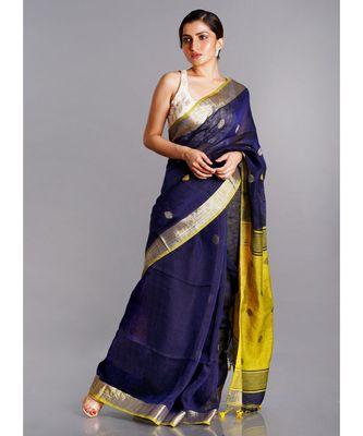 navy linen saree with polka dots and yellow pallu