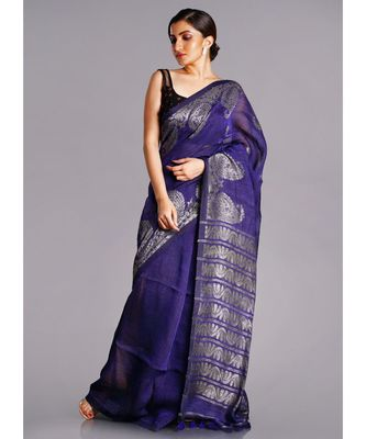 blue linen saree with golden paisely border