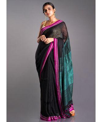 black linen saree with pink border and green pallu