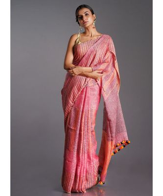 pink linen saree with running stich