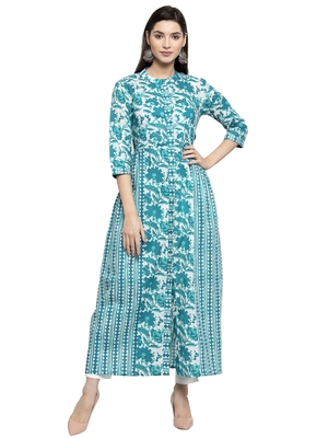 Turquoise printed cotton kurtas-and-kurtis