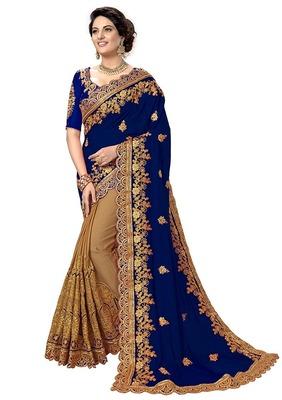 Blue Cream Bridal Embroidery georgette Designer Sari Ethnic Sarees