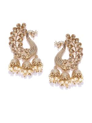 Peacock Inspired Kundan Pearl Studded Gold toned Dangle/Jhumki Earrings for women