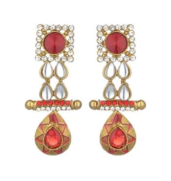 Gold toned Kundan studded Dangle Earrings