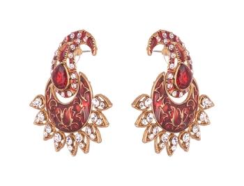 Kundan studded Enamel Gold toned Dangle Earrings