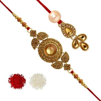 Gold Color Bhaiya Bhabhi Kundan Rakhi