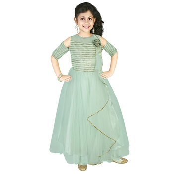 Pista Green Thread and Sequins Embroidery Net Pleated Gown for Girls