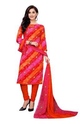 Multicolor printed crepe salwar