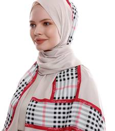 Justkartit Casual Wear Checked Strips Printed Long Scarf Hijab For Women