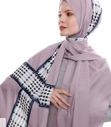 Justkartit Ivory Color Checked Printed Free Size Hijab Dupatta