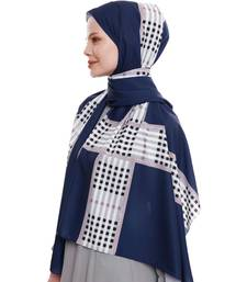 Justkartit Outdoor Wear Navy Blue Color Checked Strips Printed Islamic Wear Scarf Hijab Dupatta