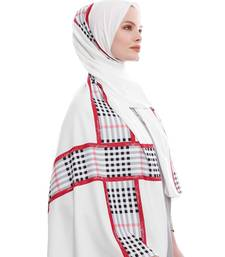 Justkartit White Color Daily Wear Printed Long Crisp Fabric Free Size Scarf Hijab Dupatta