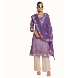 Set of Purple Embroidered kurta palazzo and dupatta