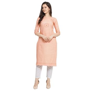Peach plain cotton kurtas-and-kurtis