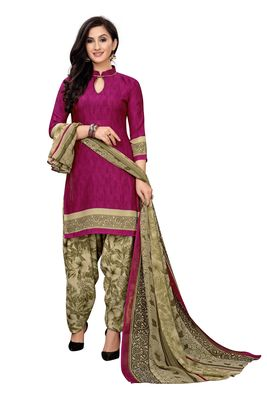 Purple printed crepe salwar
