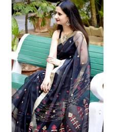 Exquisite resham silk with classic jamdani motifs