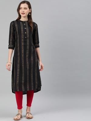 Black woven cotton kurtas-and-kurtis