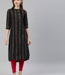 Black woven cotton kurtas-and-kurtis