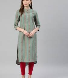 Emerald woven cotton kurtas-and-kurtis