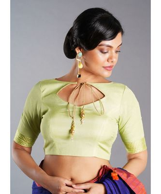 sage green blouse with mukaish border
