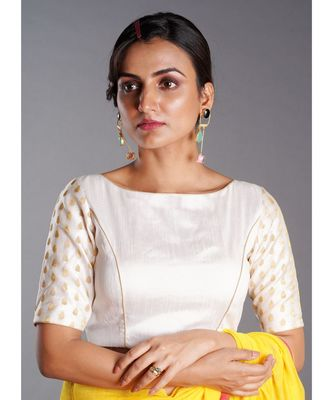 white raw silk blouse with long brocade sleeves and keyhole