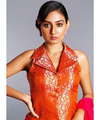 burnt orange long reversible collar blouse