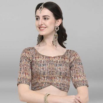Women's Multicolor Poly Silk Stitched Blouse
