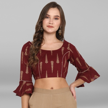 Women's Maroon Cotton Stitched Blouse