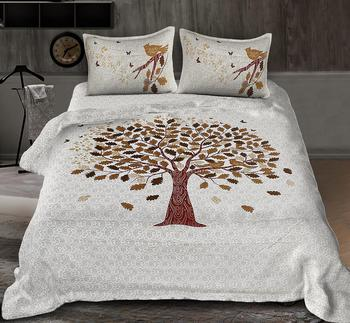 Shopping Factry100% Cotton  Traditional King Size Double Bed Sheet with 2 Pillow Covers  (TREE PRINT)