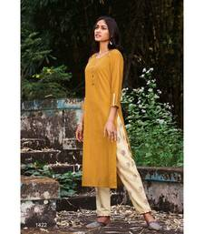 Mustard Yellow Pure Cotton Embroidery Kurta With Cotton light Peach Pant