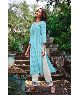 Sky Blue Pure Cotton Embroidery Kurta With Cotton Jacqurd White Pant