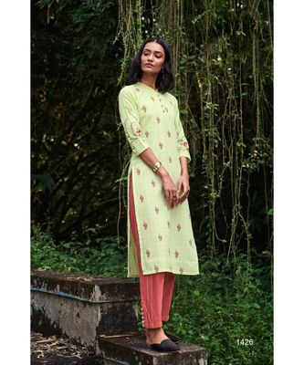 Cotton  Embroidery Lime Green Kurta with Cotton  Brick Red pant