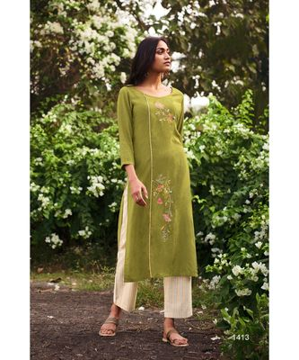 Green Heavy Viscose Kurta With Cotton  Off White Pants