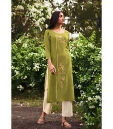 Green Heavy Viscose Kurta With Cotton  Off White Pants