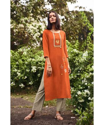 Orange  Heavy Viscose Kurta With Cotton Grey Pants