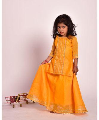 yellow gota skirt kurta set