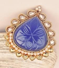 Blue Gold Framed Cocktail Ring
