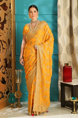 Yellow Full embroidered With Stone work silk saree