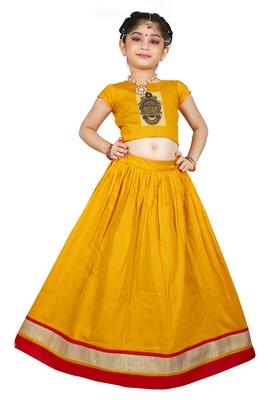 EVERWILLOW Kids Yellow Cotton Lehenga Choli