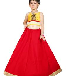 Kids Cotton Yellow Blouse And Red Lehenga Choli For Girls