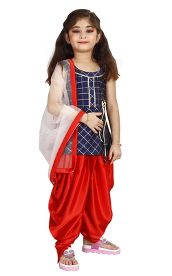 Kids Heavy Cotton Silk Blue Top And Red Partywear Patiala Salwar Suit For Girls Wear