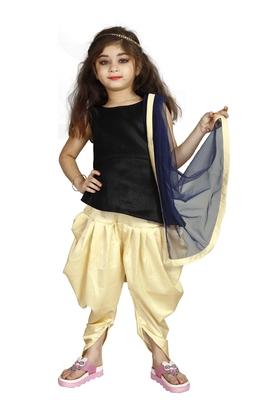 Black Top And Cream Patiala Salwar Suit Set For Girls Wear